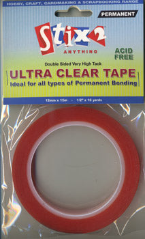 Stix2 Double Sided Very High Tack Ultra Clear Tape 12mm x 15m