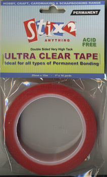 Stix2 Double Sided Very High Tack Ultra Clear Tape 25mm x 15m