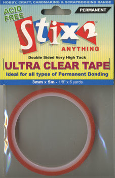 Stix2 Double Sided Very High Tack Ultra Clear Tape 3mm x 5m