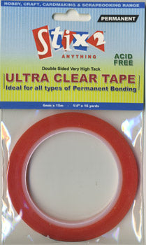 Stix2 Double Sided Very High Tack Ultra Clear Tape 6mm x 15m