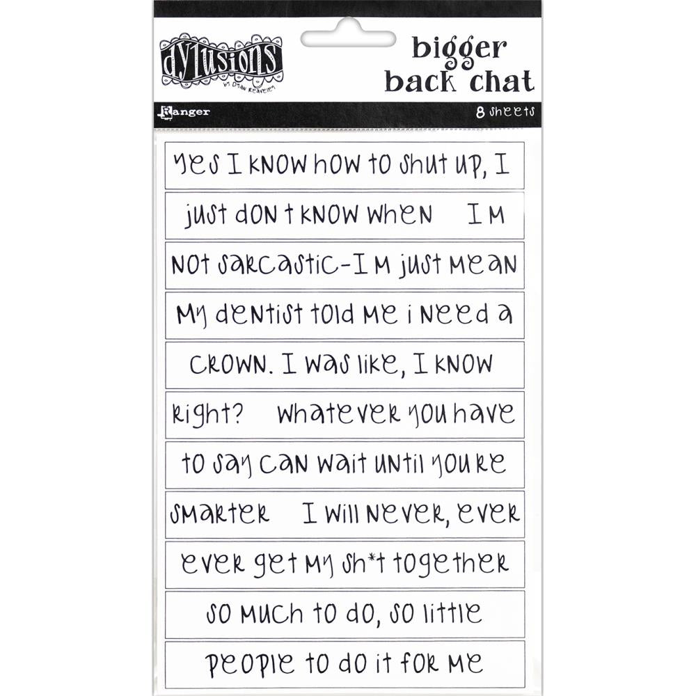 Ranger Dylusions Bigger Back Chat Stickers White