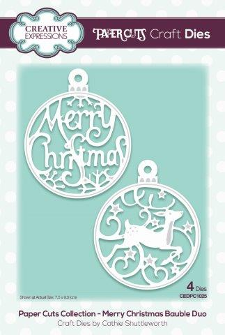Creative Expressions Paper Cuts Craft Die - Merry Christmas Bauble Duo