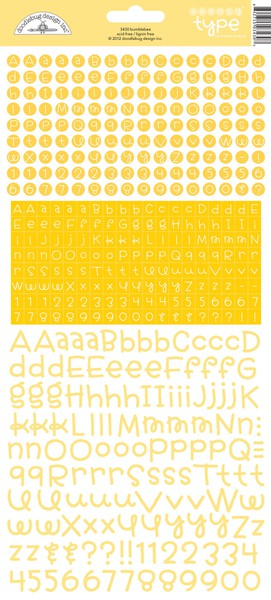Doodlebug Teensy Type Alphabet Stickers - Bumblebee