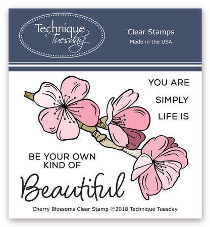 Technique Tuesday Clear Stamps - Cherry Blossoms