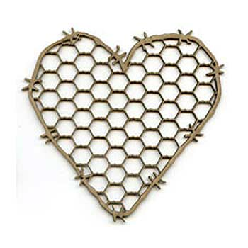 Scrap FX Chipboard - Chickenwire Heart