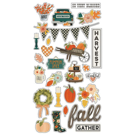 Simple Stories Fall Farmhouse - Chipboard Stickers