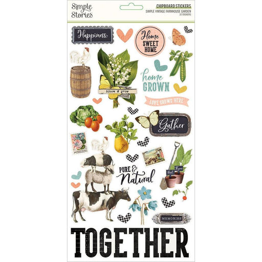 Simple Stories Simple Vintage Farmhouse Garden - Chipboard Stickers