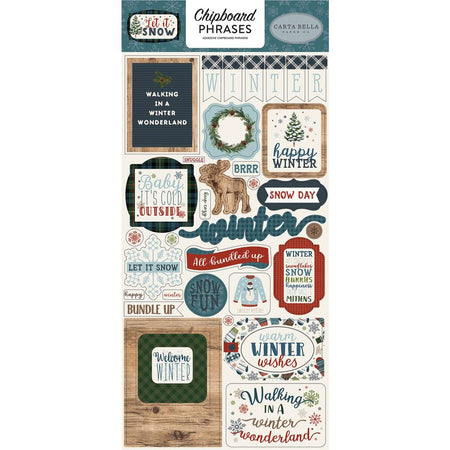 Carta Bella Let It Snow - Chipboard Phrases