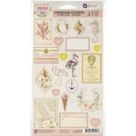 Prima Golden Coast - Chipboard Stickers