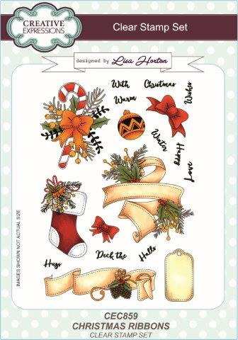 Creative Expressions Clear Stamp Set - Christmas Ribbons by Lisa Horton