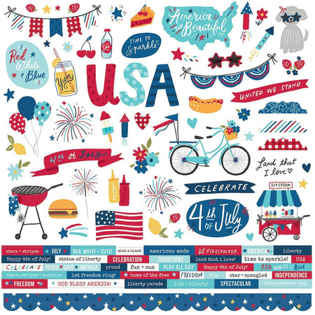 Simple Stories Simple Set Stars, Stripes & Sparklers - Combo Cardstock Stickers