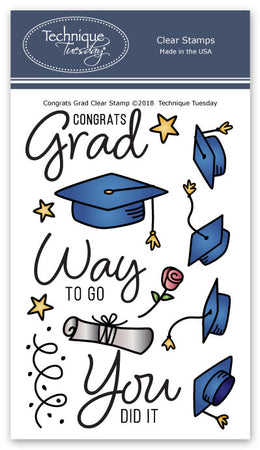 Technique Tuesday Clear Stamps - Congrats Grad