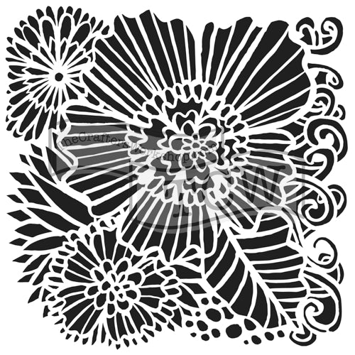 Crafter's Workshop 6x6 Template - Dahlia Blooms