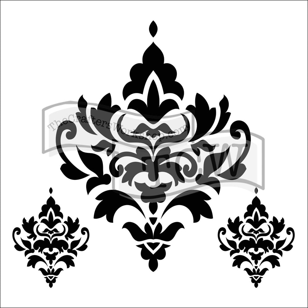Crafter's Workshop 6x6 Template - Damask Decor