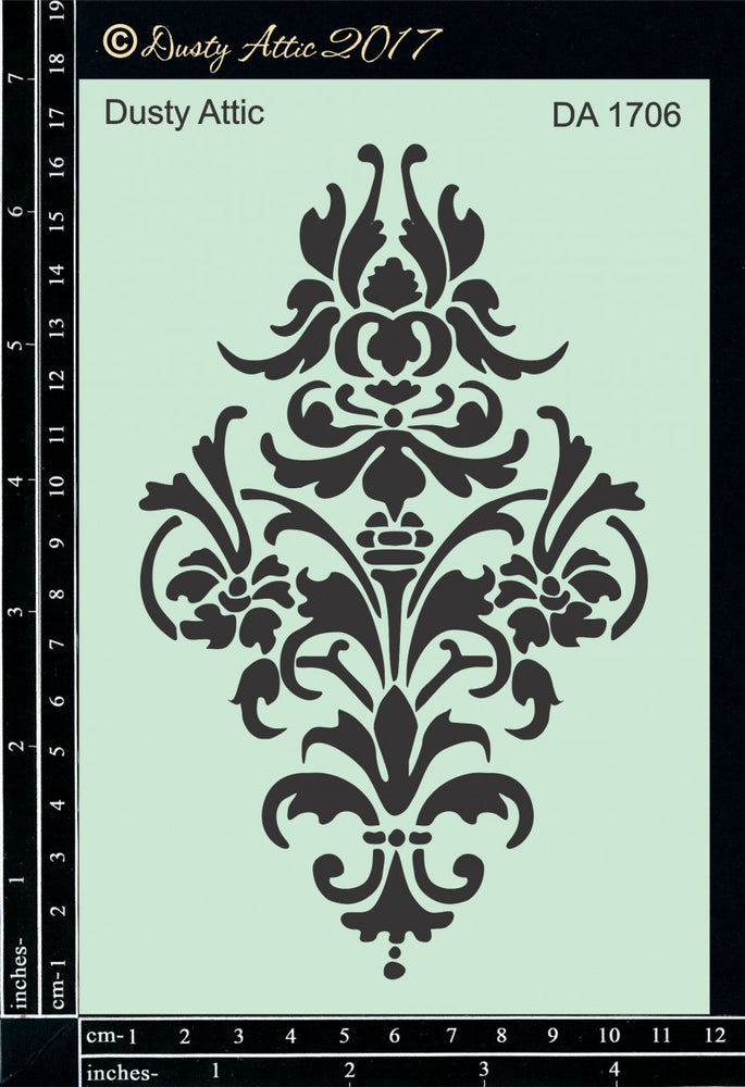 Dusty Attic Stencil - Damask