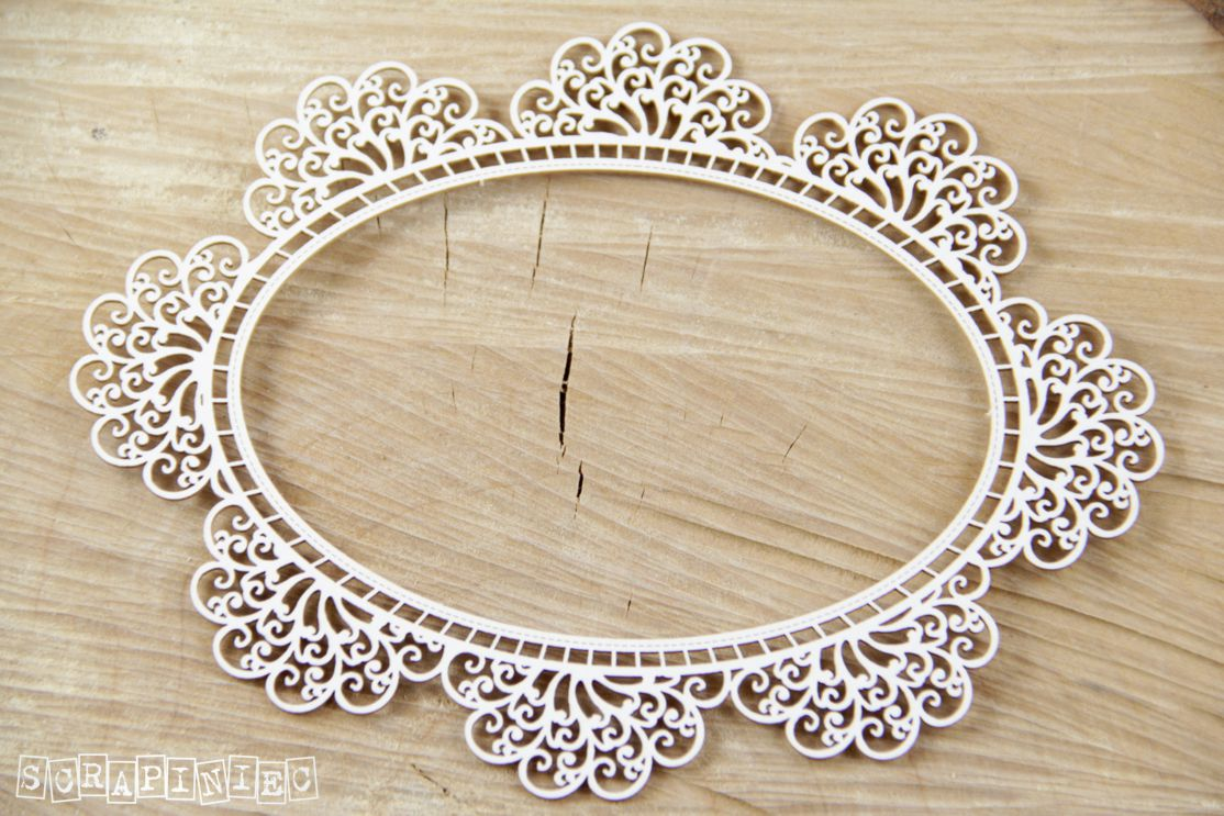 Scrapiniec Chipboard - 3553 Doily Lace Oval Doily