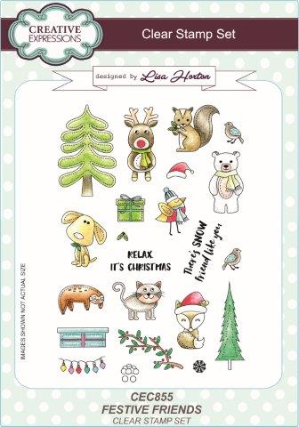 Creative Expressions Clear Stamp Set - Festive Friends by Lisa Horton
