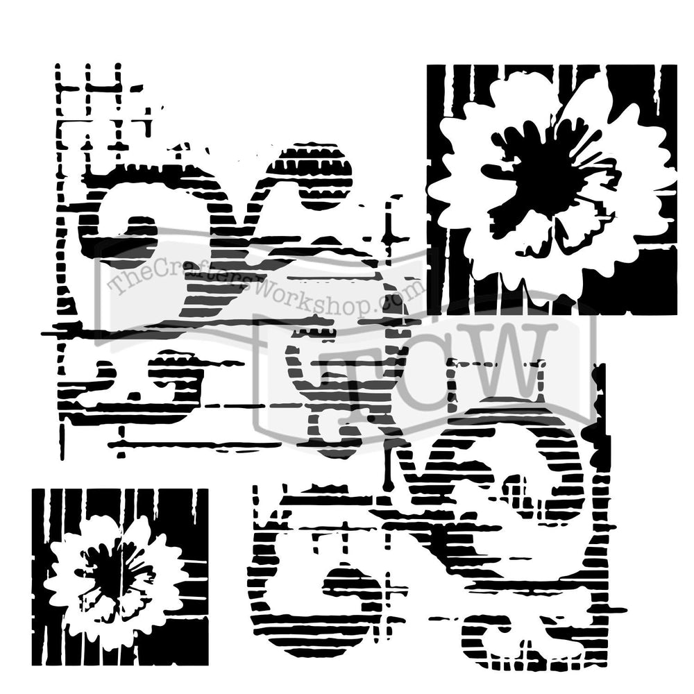 Crafter's Workshop 6x6 Template - Flower Scroll