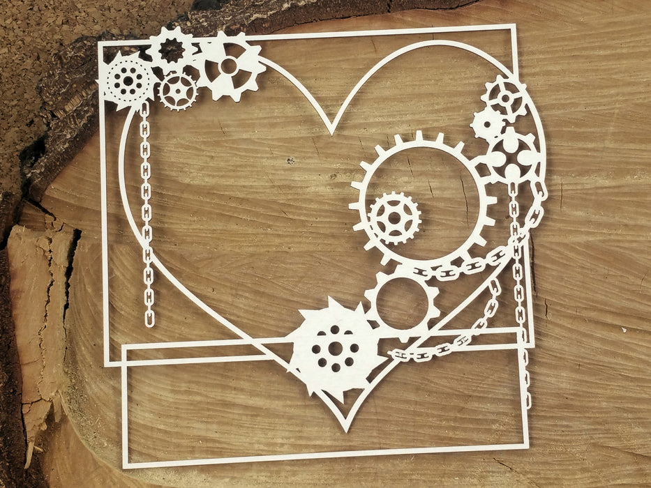 Scrapiniec Chipboard - 4752 Flying Hearts Big Square Frame