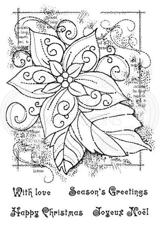 Woodware Clear Magic Singles Stamps - Framed Poinsettia