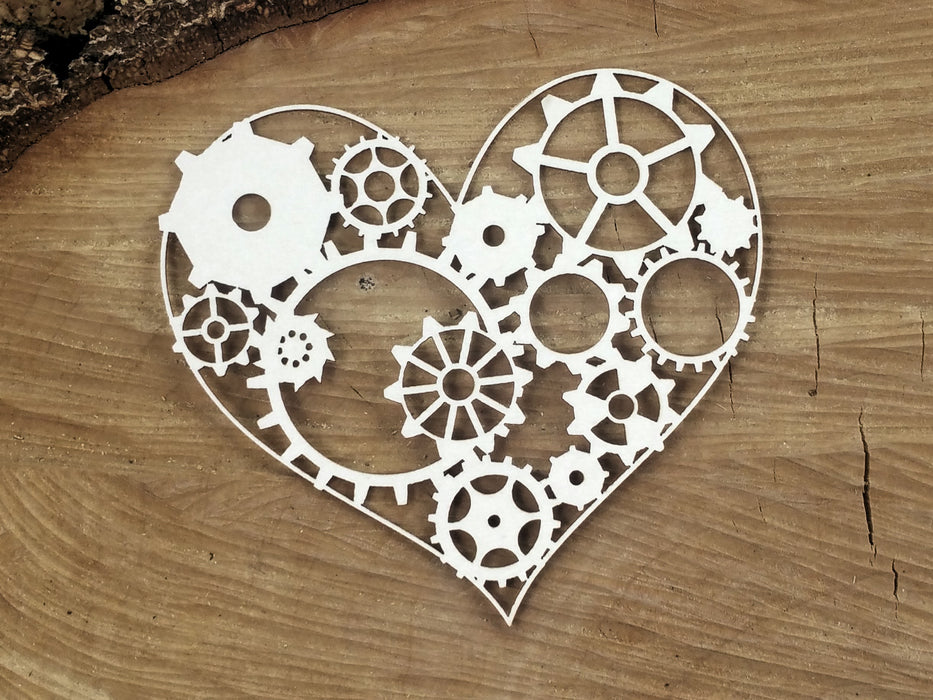 Scrapiniec Chipboard - 4756 Flying Hearts Gear Heart