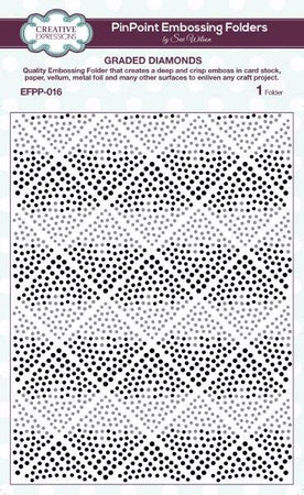Creative Expressions 6x7.5 Pinpoint Embossing Folder - Graded Diamonds