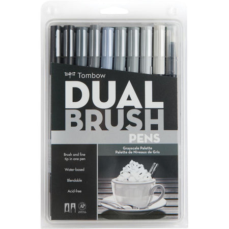 Tombow Dual Brush Pens 10 Pack - Grayscale Palette