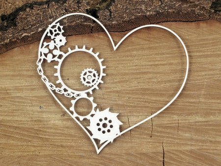 Scrapiniec Chipboard - 4755 Flying Hearts Half Gear Heart