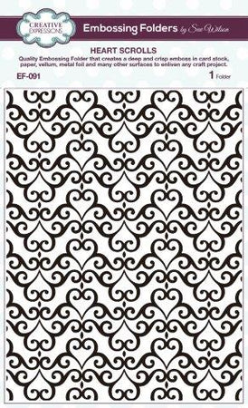 Creative Expressions 6x7.5 Embossing Folder - Heart Scrolls