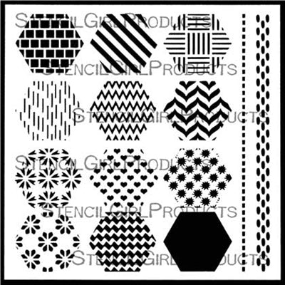 StencilGirl 6x6 Stencil - Hexagon Set 1