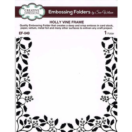 Creative Expressions 6x7.5 Embossing Folder - Holly Vine Frame