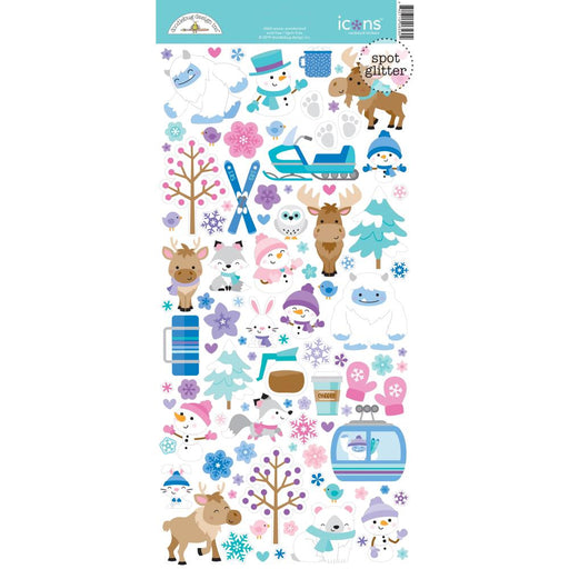 Doodlebug Design Winter Wonderland - Glittered Icon Stickers