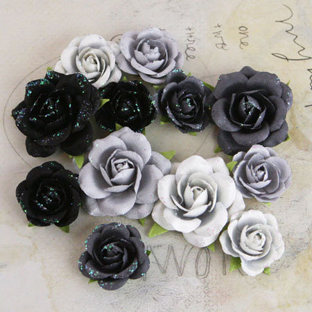 Prima Interlude Black/Grey Flowers