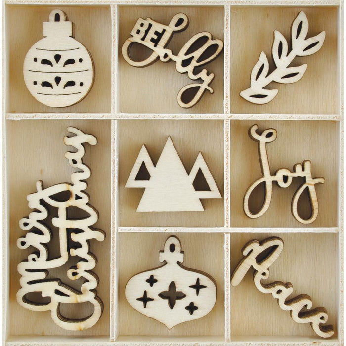 Kaisercraft Wooden Flourish Pack - Jolly Christmas