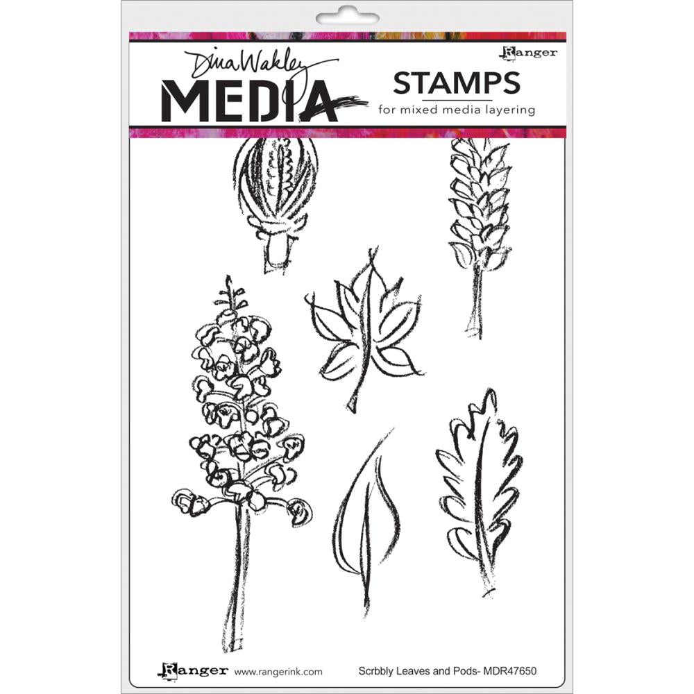 Dina Wakley Cling Stamps - Scribbly Leaves & Pods