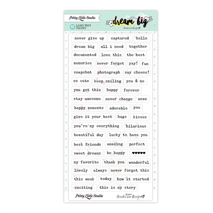 Pretty Little Studio Dream Big - Lovely Word Stickers White