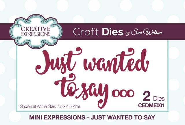 Creative Expressions Mini Expressions Die - Just Wanted to Say