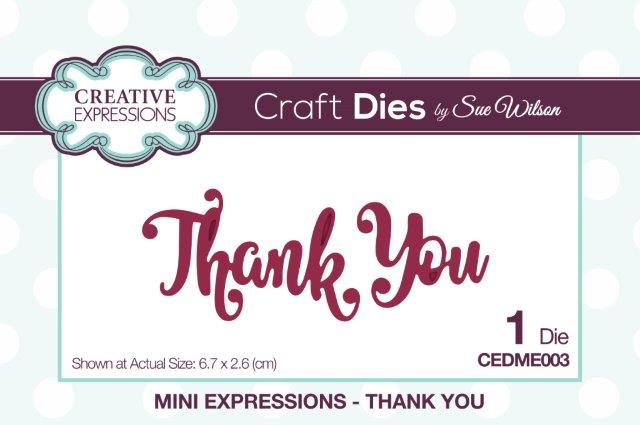 Creative Expressions Mini Expressions Die - Thank You