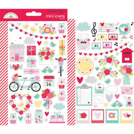 Doodlebug Design Love Notes - Mini Icon Stickers