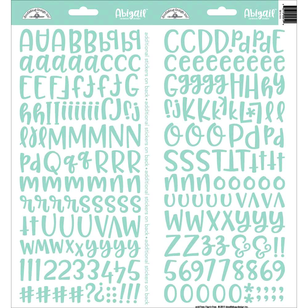 Doodlebug Abigail Alphabet Stickers - Mint