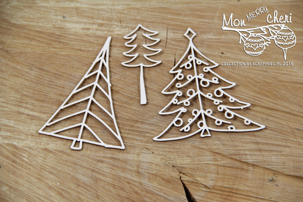 Scrapiniec Chipboard - 4309 Mon Merry Cheri Christmas Trees