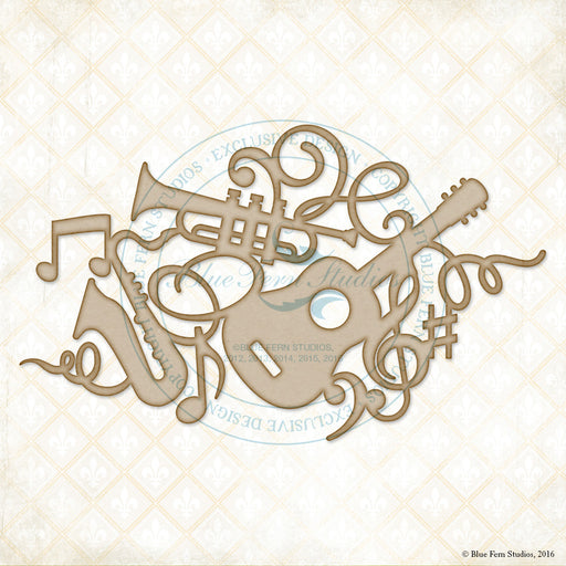 Blue Fern Studios Chipboard - Musical Collage