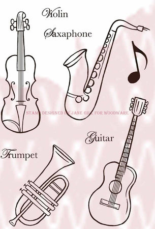 Woodware Clear Magic Singles Stamps - Musical Instruments