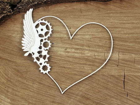 Scrapiniec Chipboard - 4754 Flying Hearts One Wings Frame