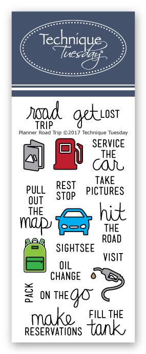 Technique Tuesday Clear Stamps - Planner Road Trip