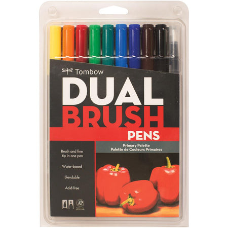 Tombow Dual Brush Pens 10 Pack - Primary Palette