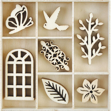 Kaisercraft Wooden Flourish Pack - Secret Garden