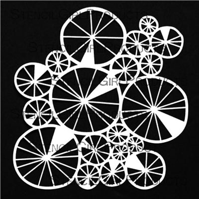StencilGirl 6x6 Stencil - Spoked Wheels Collage