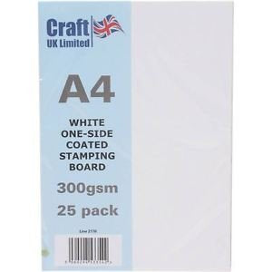 Craft UK A4 White One-Side Coated Stamping Board 25 Pack