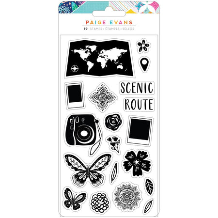 American Crafts Paige Evans Go The Scenic Route - Clear Stamps